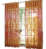 Freedi Window Voile Tulle Living Room Floral Print Panel Sheer Drapes Curtain Valances Scarf ,1Pair ( Not Included Background Part )