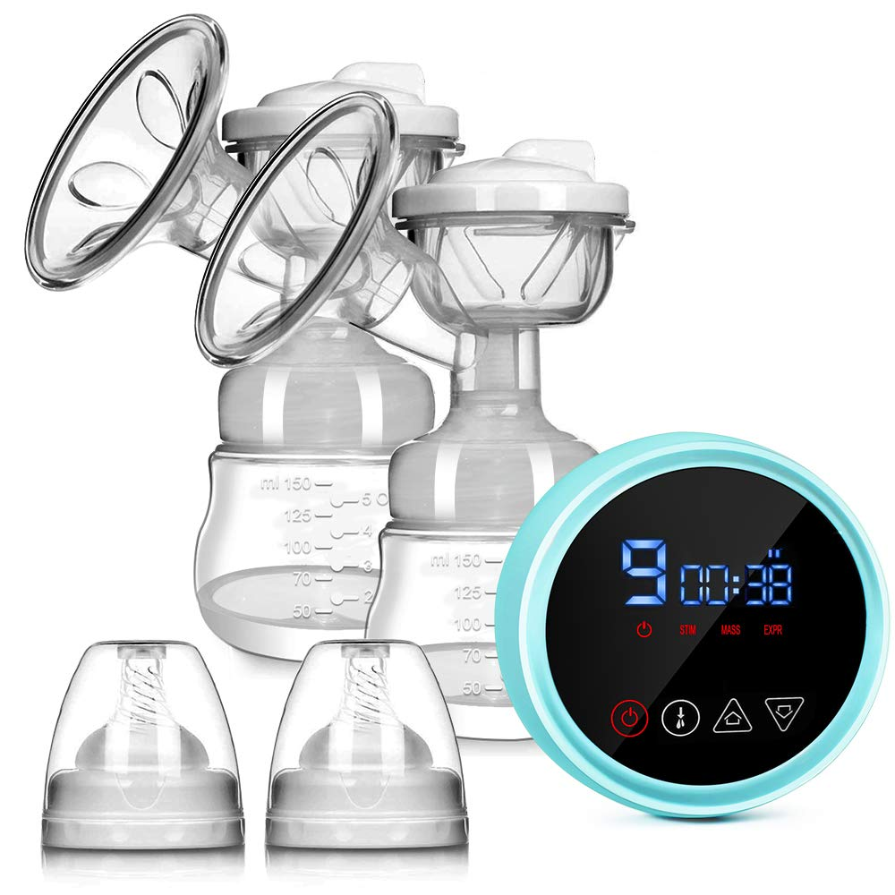 Electric Breast Pump, Supoggy Double Breastfeeding Pump LED Touch Screen with 3 Modes 9 Levels, BPA Free, Rechargeable Breast Milk Pump with a Carry Bag