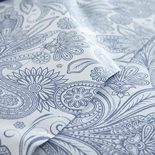 Southshore Fine Linens - Perfect Paisley Boho Collection 4 Piece Sheet Sets, Full, White with Blue Paisley by Southshore Fine Living, Inc. (Image #1)
