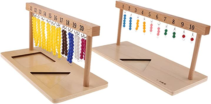 Baoblaze Marco de Madera de 2 Unids con Barra de Cuentas de 20x Material de Matemáticas Montessori: Amazon.es: Juguetes y juegos