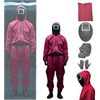 2021 TV Squid Game Cosplay Jumpsuit with Belt, Masked Man Squid Game Mask Costume, Unisex Halloween Cosplay Costume (M)