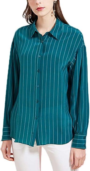 DISSA S7320 - Blusa de seda para mujer, cuello de camisa ...