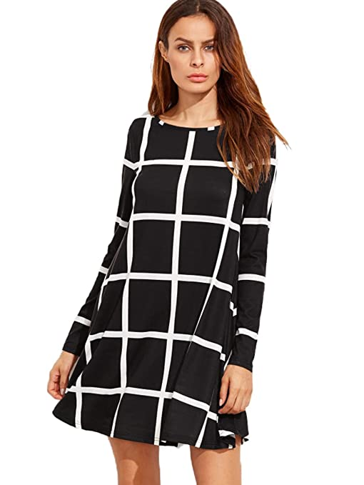 SheIn Women's Grid Check Print Long Sleeve Swing Dress Small Black Reviews