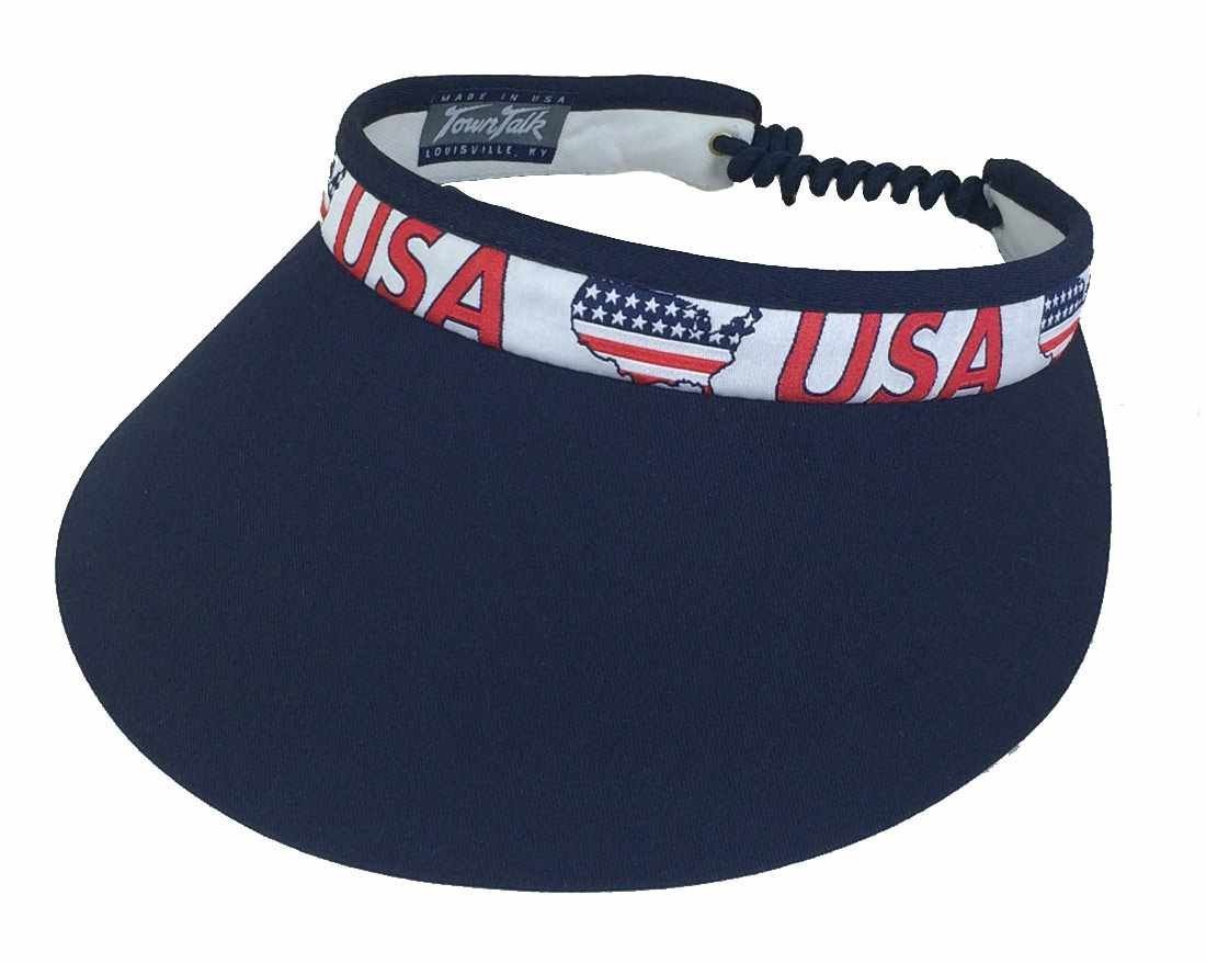 Town Talk Twisted Cord USA-Panel Navy 4-inch Visor