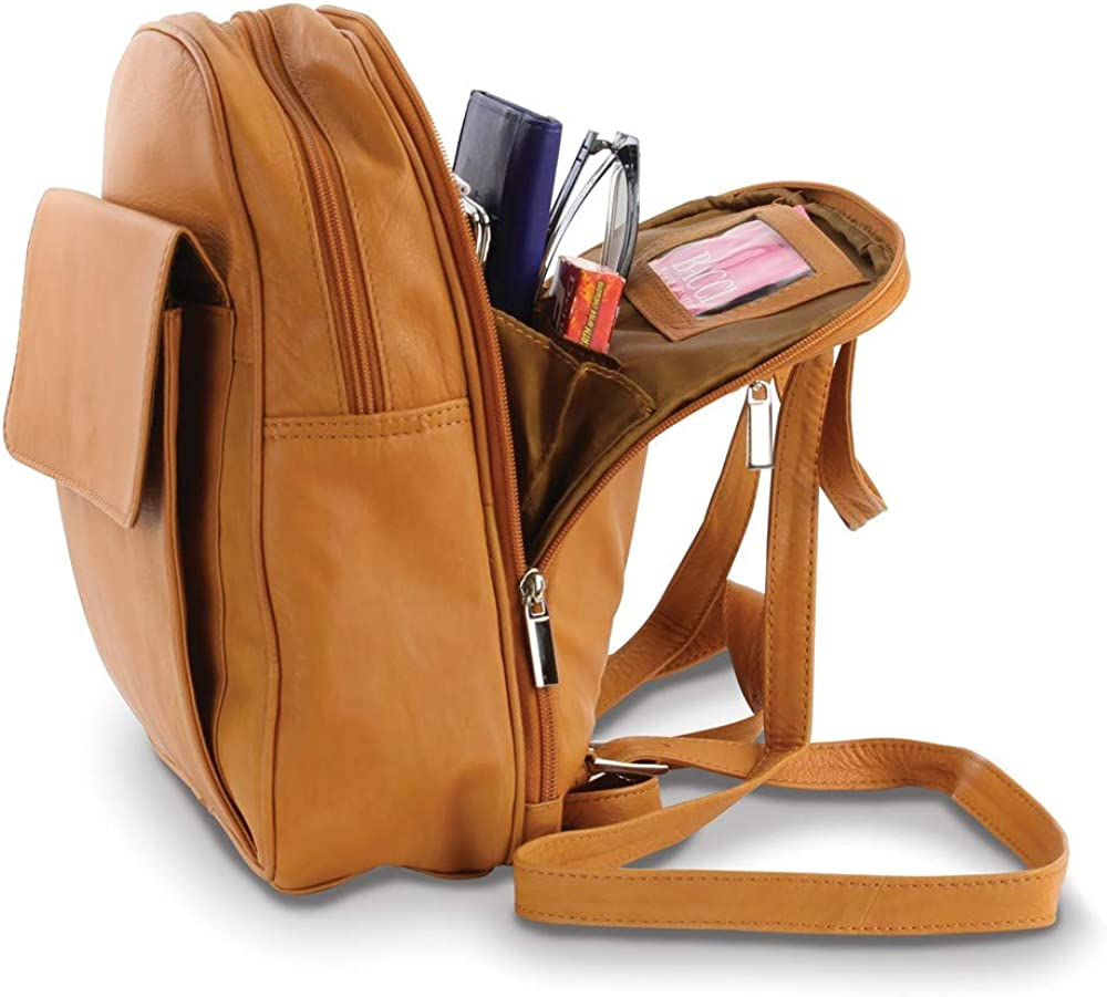 FB Jewels Solid Tan Leather Organizer Backpack
