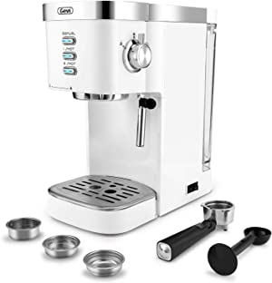 Espresso Machines Fast Heating Cappuccino Machine 20 Bar with Milk Frother for Espresso, Latte and Mocha, for Home Barista, 1.2 L Water Tank, Double Temperature Control System, White, 1350W
