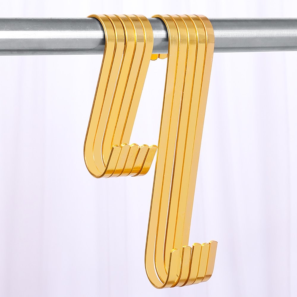 10 Pack Heavy Duty S Hook For Hanging Large Closet S Hooks Small 2 inch S Shaped Hooks Gold Luxury For Kitchen Spoon Pan Pot Hanging Clothes Plants Utensils Towels by HYibiao (Image #6)