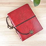 Longpro Creative DIY Loose-leaf Photo Album Leatherette Binded Album Series Anniversary Scrapbook (Voyage, Red)