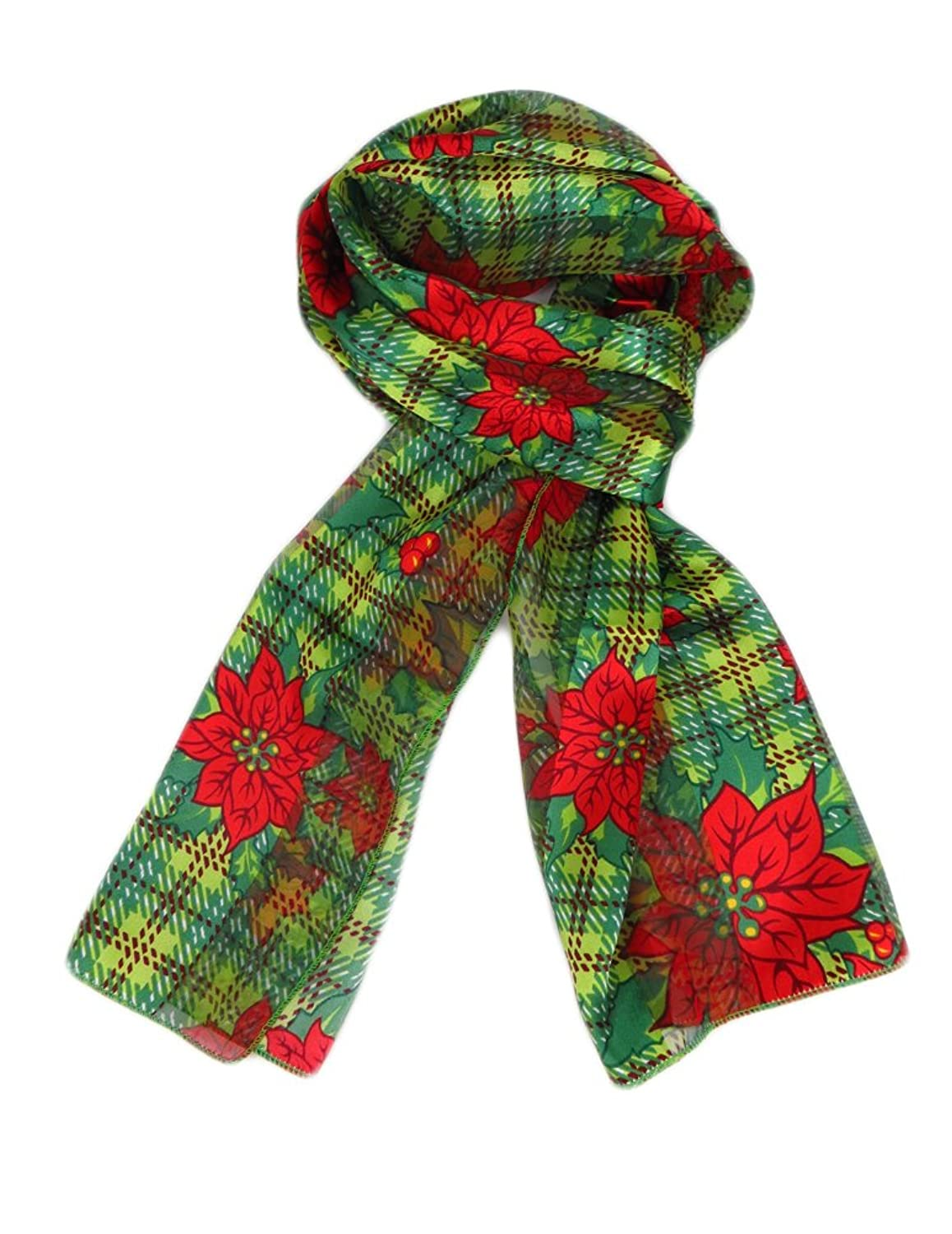 New Company Womens Plaid Christmas Poinsettia Mistletoe Scarf