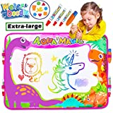 Aqua Doodle Drawing Mat Pad Tablet 6 Color 4 Magic Pens with 4 Clips Dinosaur Large Water Painting Writing Board for Boys Girls Kids Children Toddler Travel School Gifts Learning Toys