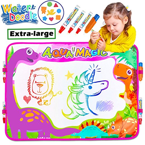 Aqua Doodle Drawing Mat Pad Tablet 6 Color 4 Magic Pens with 4 Clips Dinosaur Large Water Painting Writing Board for Boys Girls Kids Children Toddler Travel School Gifts Learning Toys by iGeeKid