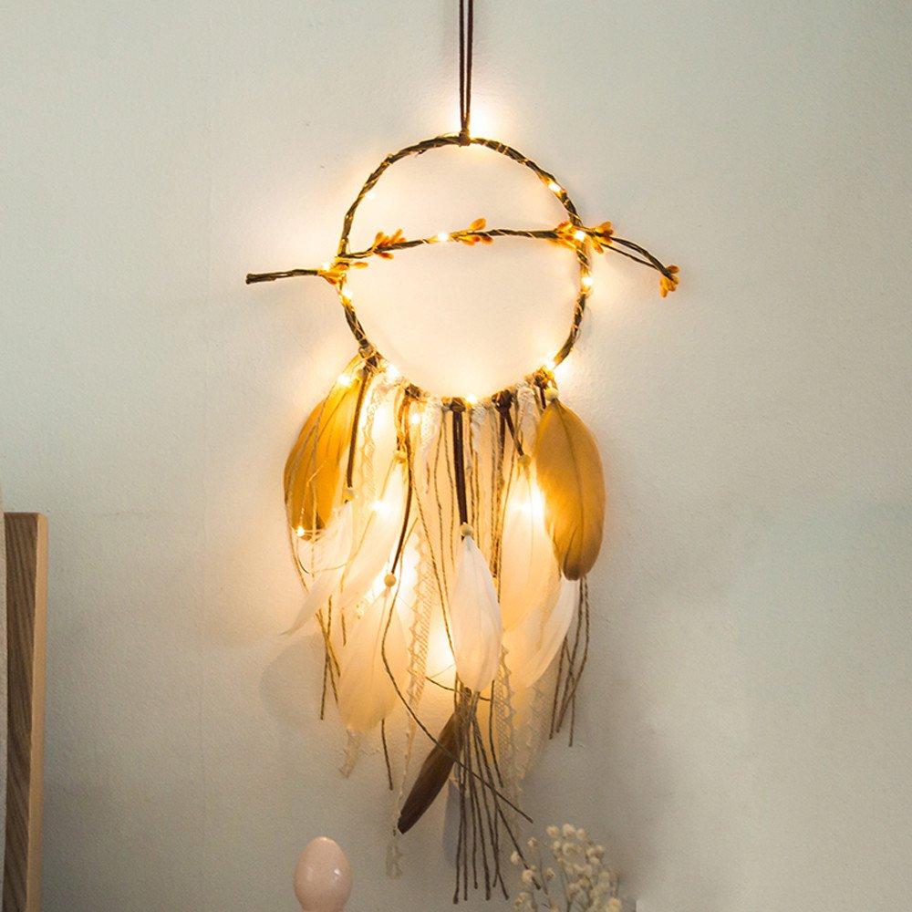 Vertily Dream Catchers Handmade Feather Native Circular Net, 2 Meter 20LED Lighting Traditional Hanging Decoration Ornament Craft (Purple)