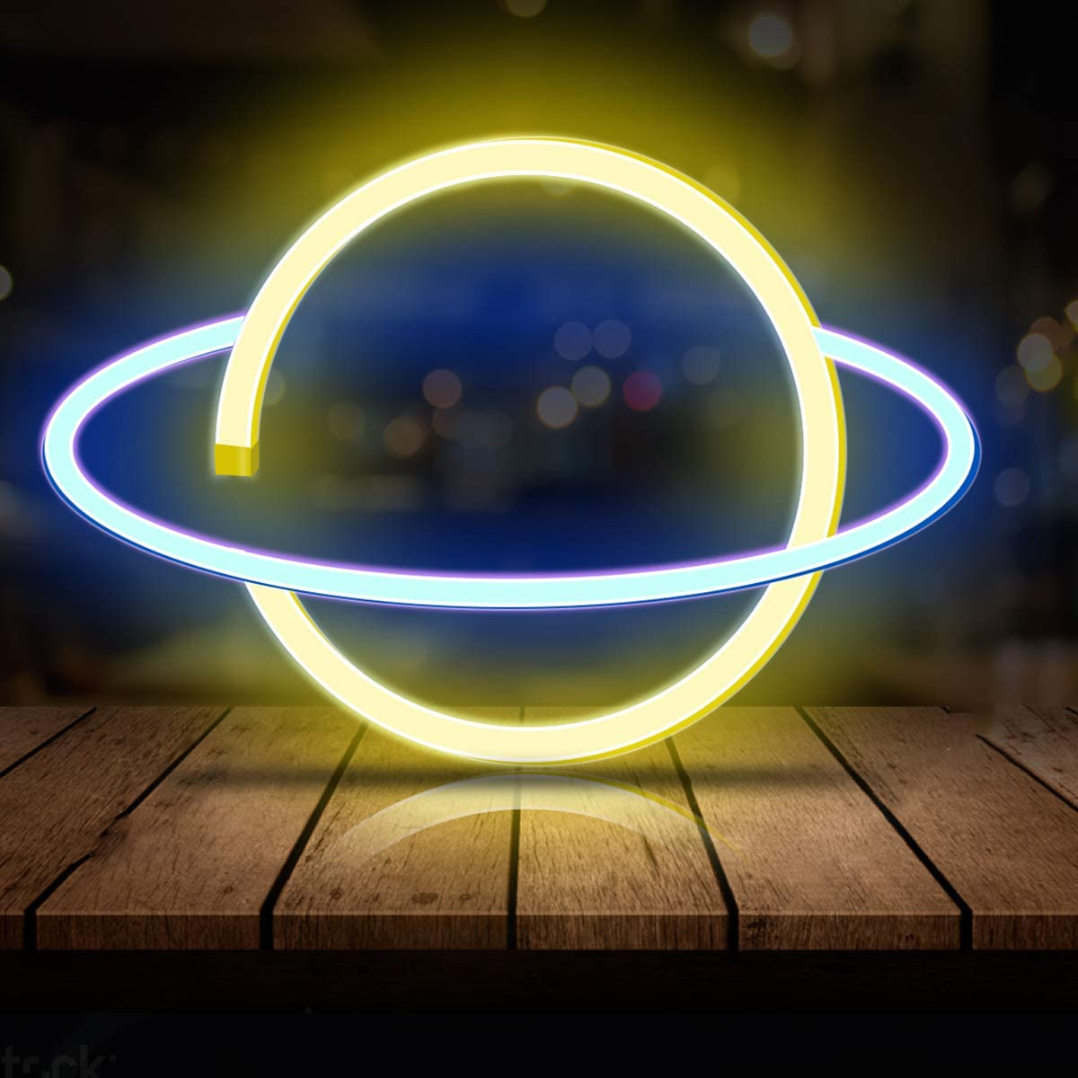 Neon Light LED Planet Neon Signs, Planet Shaped Neon Sign Wall Decor USB/Battery Night Light 50% OFF £8 with single use codes @ Amazon