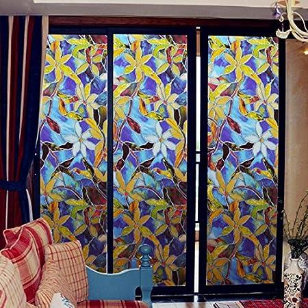 Vinilo electrostatico autoadhesivo modelo vidriera Tiffany para ventanas, puertas, mamparas, alacenas, armarios, bodegas de CHIPYHOME: Amazon.es: Bricolaje y herramientas