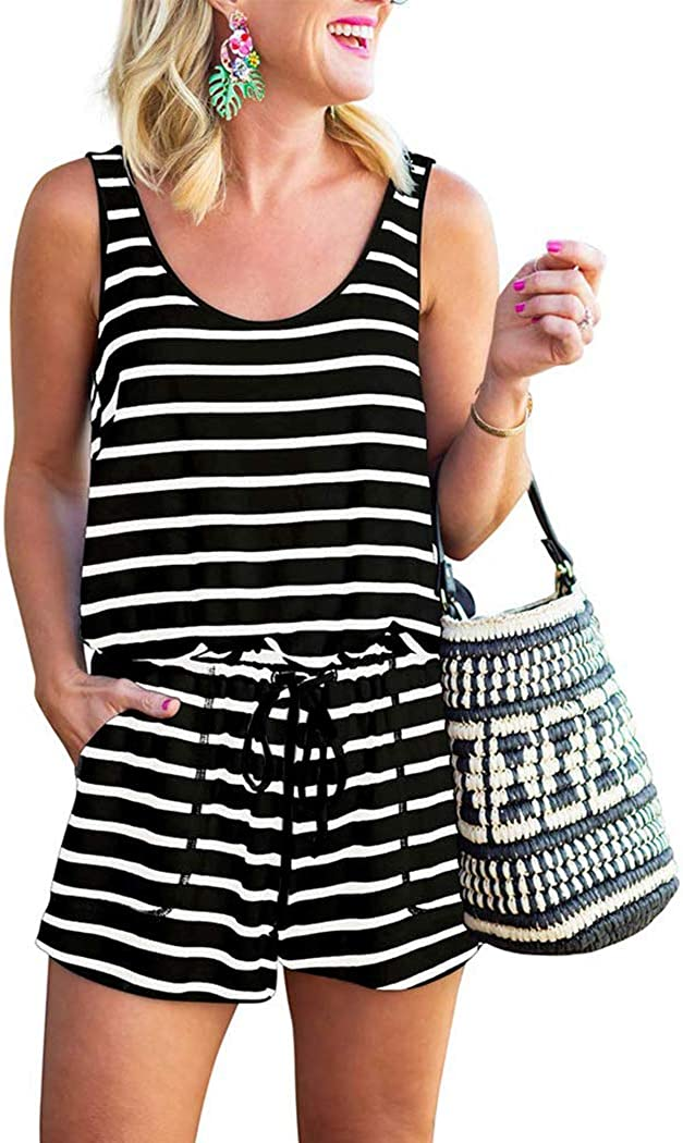 bbpawing Womens Rompers Summer Scoop Neck Sleeveless Tank Top Casual Beach Outfit Short Jumpsuit