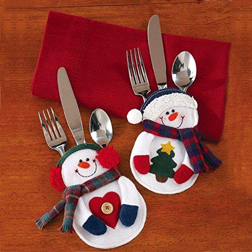 Christmas Silverware Holder Pockets Santa clause Tree Hanging Decorations Supplies Table Ornaments 2PCS