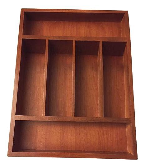 Bandeja de cajón para cubiertos de cocina grande de madera organizador de cajones de madera 6