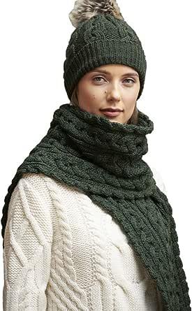"Aran Crafts Irish Cable Knitted Heavyweight Scarf 10""x64"" (100% Merino Wool)"