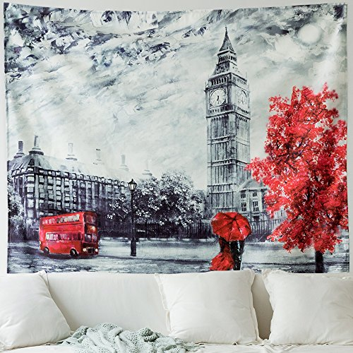 MIULEE Red Maple Leaves Tapestry Decorative Big Ben Wall Hangings The Street of Paris Tapestry for Bedroom Living Room 51x59 Inch