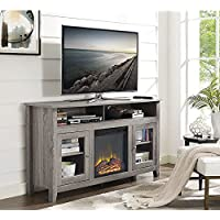 WE Furniture 58 Wood Highboy Fireplace Media TV Stand Console, Driftwood