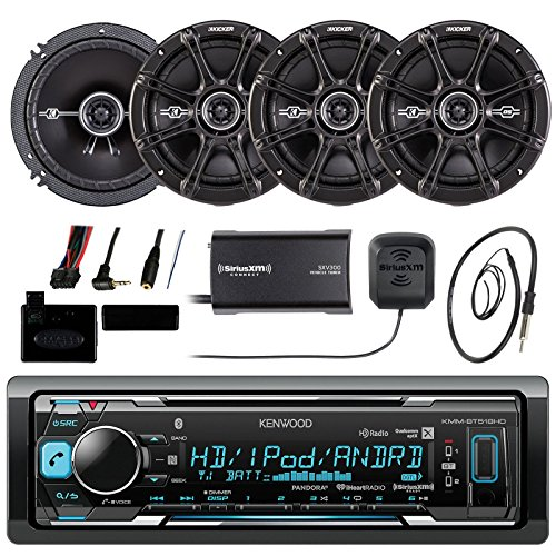 Kenwood KMMBT515HD Marine Boat Bluetooth Stereo Receiver Bundle Combo With 4x Kicker 6.5
