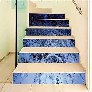 Vinyl Staircase Stickers Wallpaper Decor, Christmas Snowy Forest at Night with Xmas Star Holiday Bliz, for Walls Kitchen Stair Decals Home Decorations, W39.3 x H7.08 Inch x6PCS