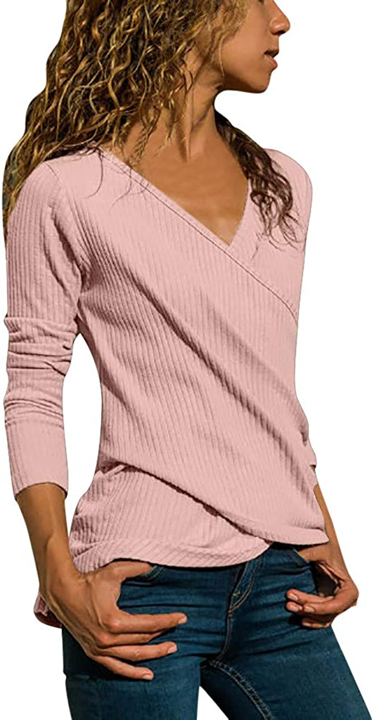 Long Sleeve Casual V-Neck Basic Comfy Solid Ladies Tank Tunics T-Shirts Pullovers Tops UOKNICE BLOUSE for Womens