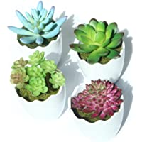 Myartte Artificial Succulent Plants Fake Succulents Mini Faux Plants for Home/Office Docor (Resin Pots)