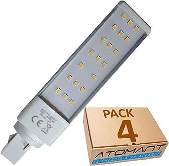 Pack 4x PL LED G23 - G24 7w, 2 pin. Color Blanco Frío (6500K). 700 lumenes. Sustitucion plc 26w de gas.: Amazon.es: Iluminación