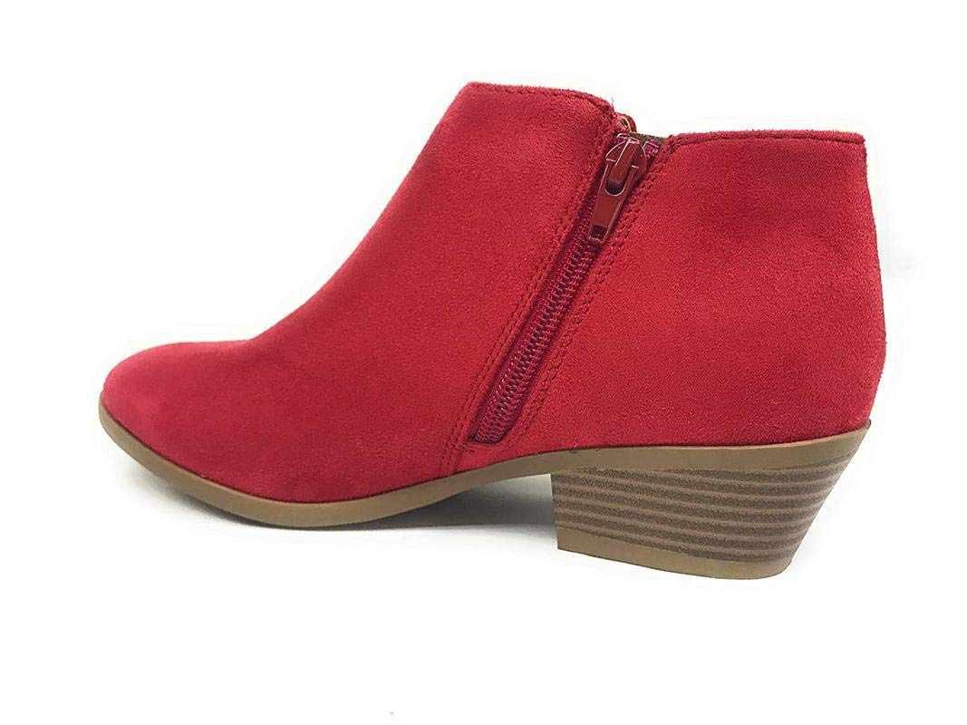 Soda Women's Western Ankle Bootie w Low Chunky Block Stacked Heel Lipstick Red (7)