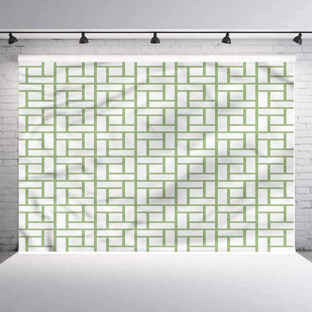 8x8FT Vinyl Backdrop Photographer,Green,Maze Shaped Squares Lines Background for Baby Shower Bridal Wedding Studio Photography Pictures