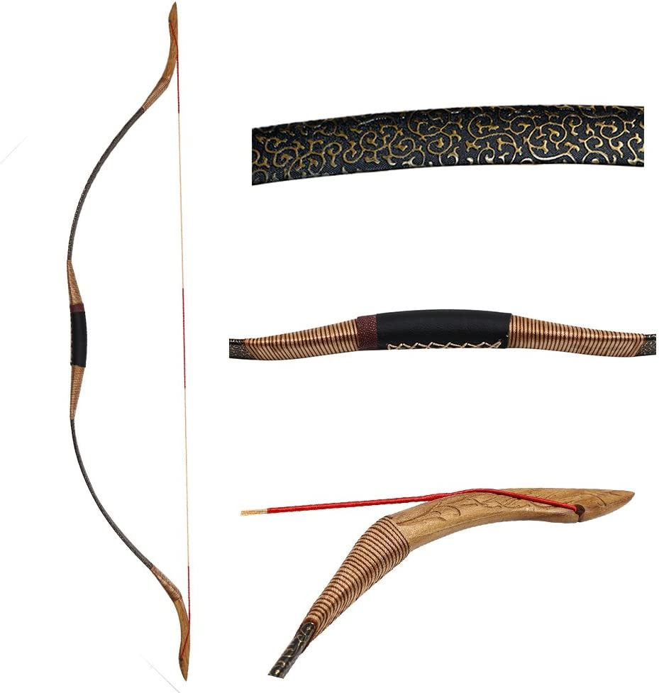Toparchery Traditional Recurve Bow 屋外スポーツハンティング手作り馬弓Longbow 30-50lbs