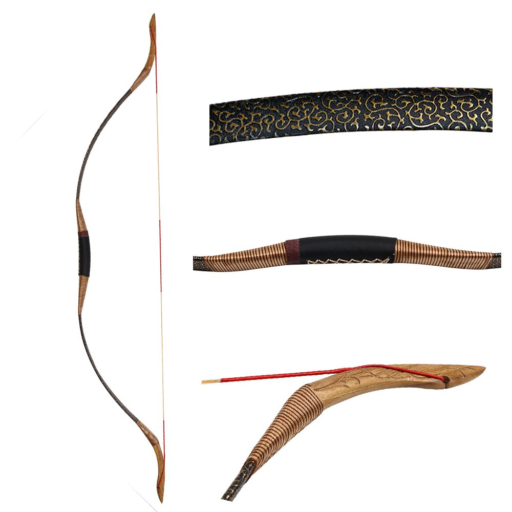 IRQ Archery Traditional Recurve Hunting Longbow for Shooting Target Wooden Mongolian Horsebow 30lbs-50lbs Handmade (35 LB)