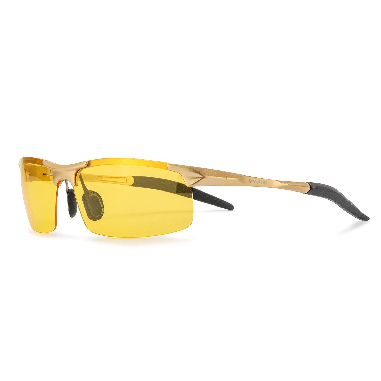 HD Gelben Nachtsichtbrille Autofahren Sport Heiß Stil Polarisiert für Herren mit Ultra Leicht Metallrahmens Entspiegelten Sonnenbrillen - 100% UV400 Schut PmG4Unn