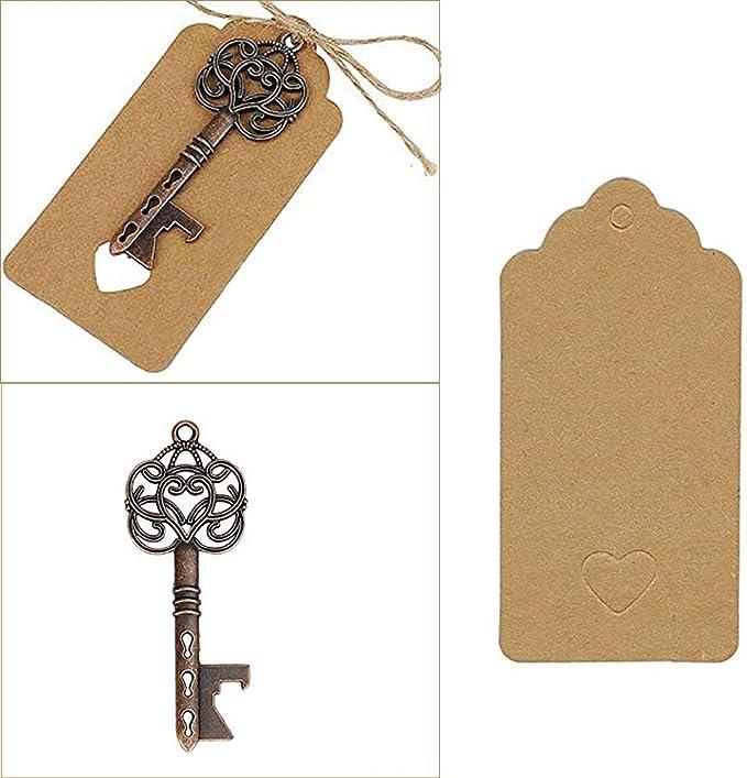 Ouinne Abrebotellas con Forma de llave con Etiquetas de Tarjeta para Obsequios de Bodas Cumplea/ños y Fiestas 20 Unidades Clave Abrebotellas