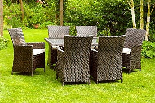 Alle Wetter Rattan California 6Sitz rechteckig Gartenmöbel Set Inc Sonnenschirm