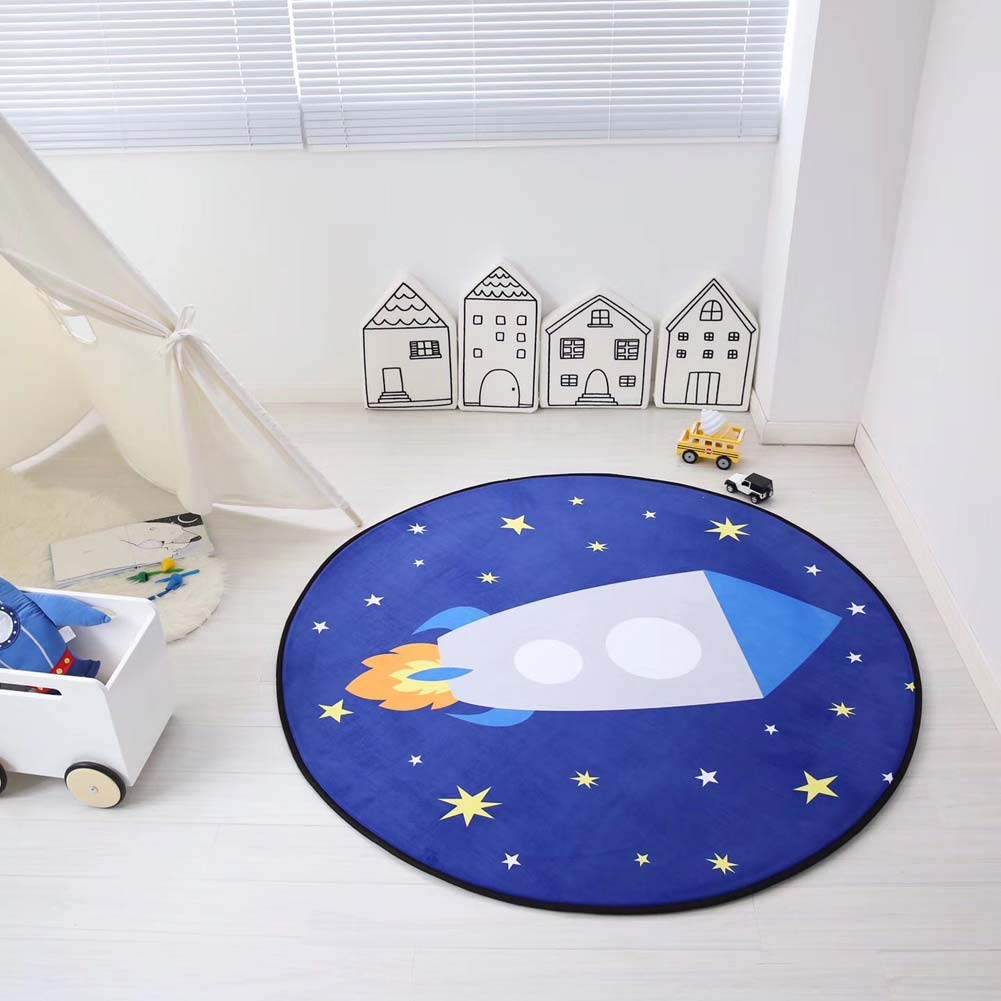 120cm//Alphabet HOUTBY Round Crystal Velvet Baby Play Mat Cute Cartoon Kids Rug Household Carpet Child Tent Nursery Rooms Decoration