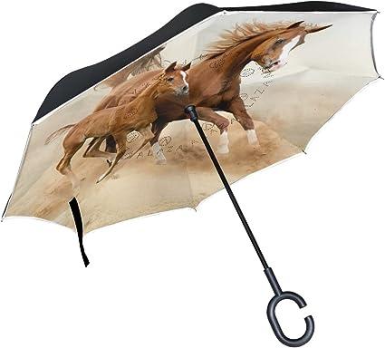 Inverted Umbrella with Lacrosse Player Print Car Reverse Folding Umbrella