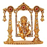 AKART HUB Brass 24 K Gold Plated with Stones Hindu God Shri Ganesh Car Dashboard Statue Lord Ganesha Idol Bhagwan Ganpati Handicraft Decorative