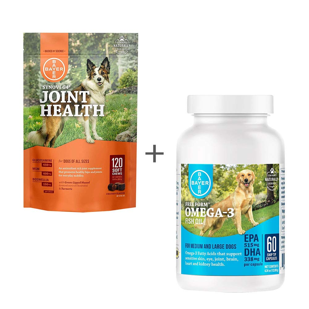 Bundle Bayer Synovi G4 Soft Chews for Dogs, Joint Supplement, 120ct & Free Form Snip Tips Gel Capsules, Omega-3 Fish Oil, 60ct - Single Pack Each by All Pets Bundle