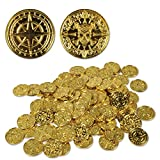 "Beistle 53343 Plastic Pirate Coins 200 Piece, 1.5"", Gold"