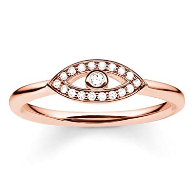 Thomas Sabo Silver Rose Gold Plated Cubic Zirconia Nazar Eye Ring TR2075-416-14-58 (Q 1/4) 1nazb8IS
