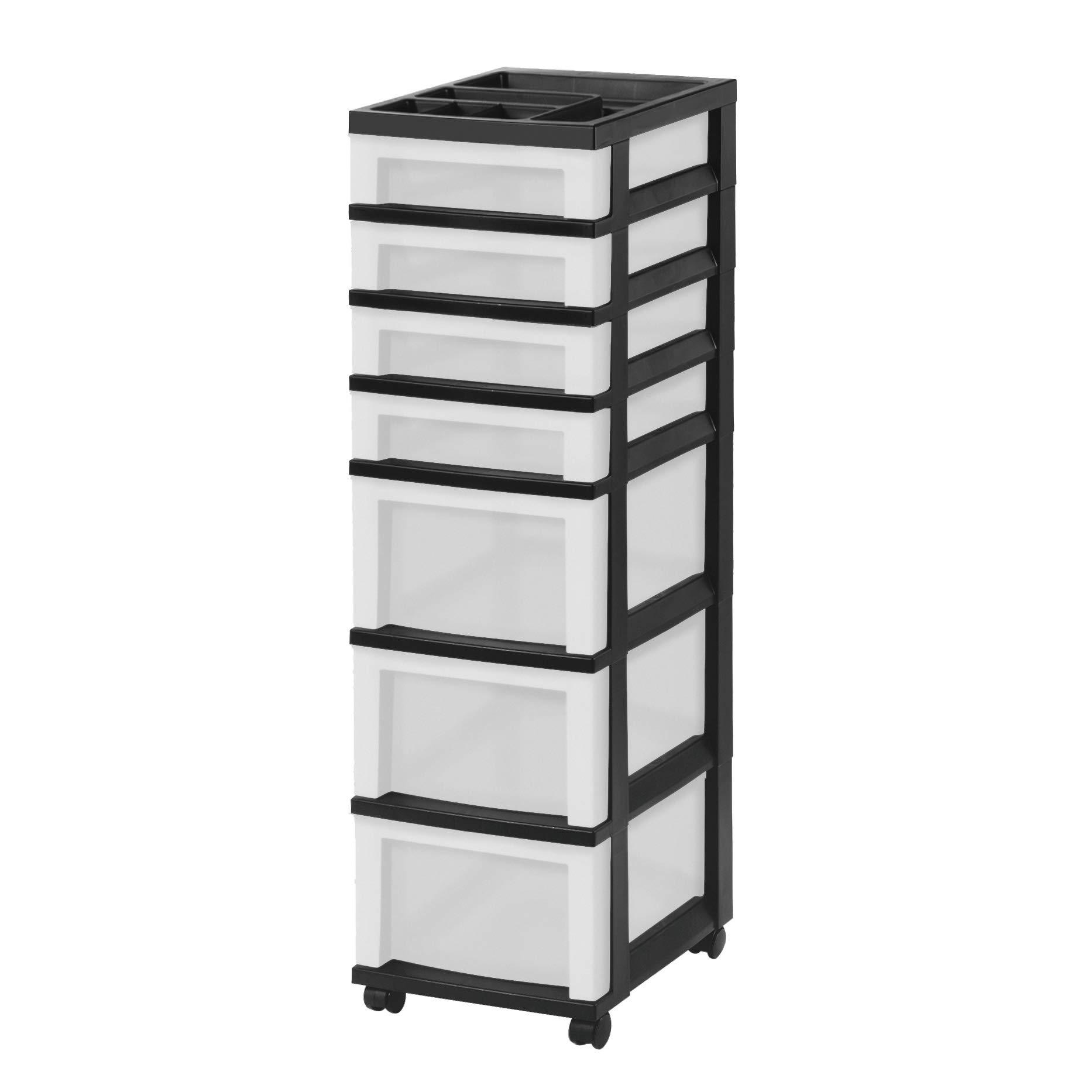 IRIS USA, Inc. MC-343-TOP Medium 7-Drawer Storage Rolling Cart with Organizer Top, Black/Pearl