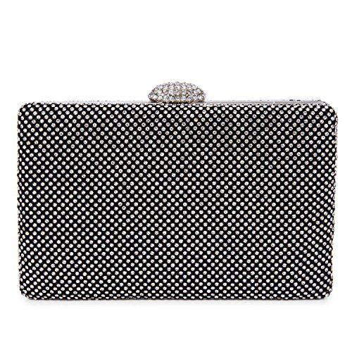 CLOCOLOR Bolso de mano con diamantes cristales brillantes cartera de mano con cadena metal larga estilo elegante bolso de fiesta para mujer, Dorado Negro