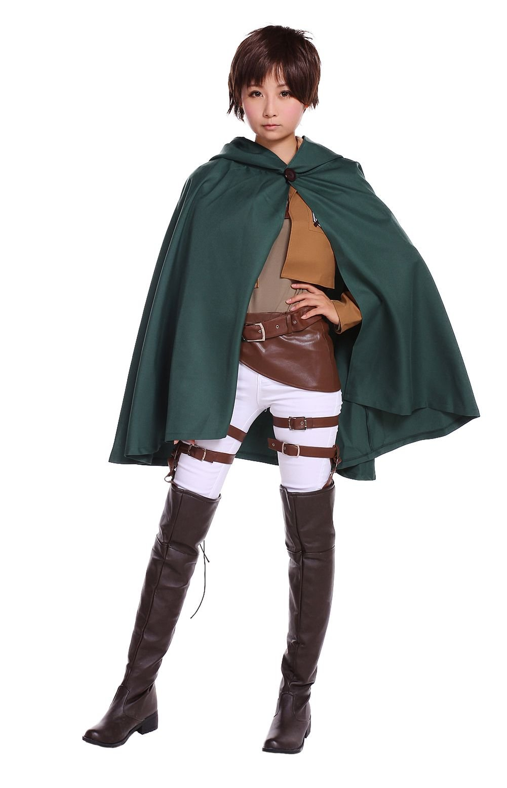 COSROOM Attack on Titan Survey corps Eren Jaeger Cosplay Costume with cloak Female S