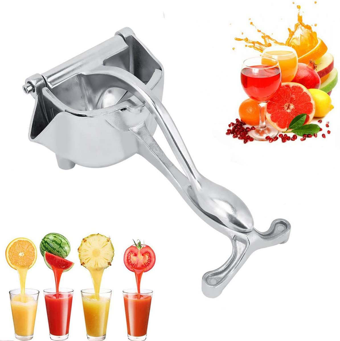 Premium Quality Stainless Steel Manual Juicer,Heavy Duty Single Press Hand Squeezer,Manual Fruit Press Squeezer,Household Fruit Juicer Extractor for Oranges/Watermelon/Lemon/Apple