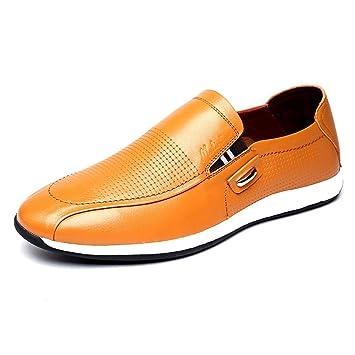 HhGold Zapatos de Cuero Ocasionales del resbalón de los Hombres, Mocasines de Cabeza Redonda cómodos
