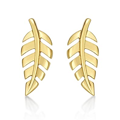 3d00630a01fa5 Diamond Treats Gold Feather Earrings in 925 Sterling Silver plated ...