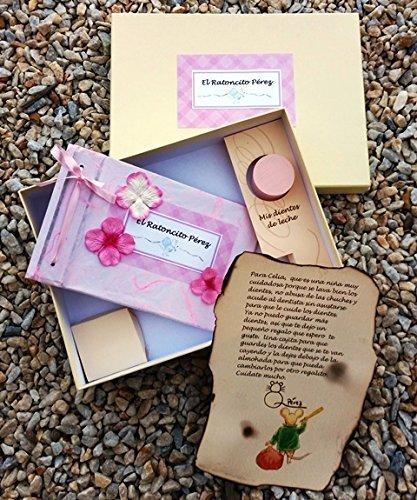 Ratoncito Pérez regalo en rosa con flores, con un cuento, personalizado con su nombre y su cajita hecho a mano por el mismo Raton Perez y personalizado con el nombre de la niña LyL Creaciones