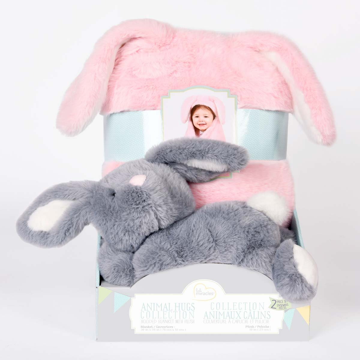Animal Hugs Collection Hooded Blanket with Plush Bunny by Little Miracles (Image #1)